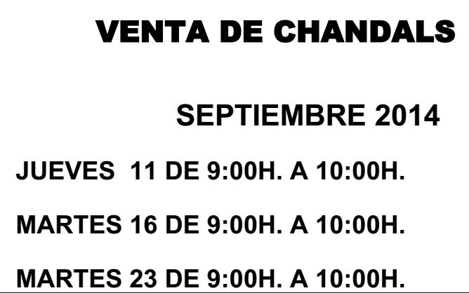 Venta de chandals – Septiembre 2014