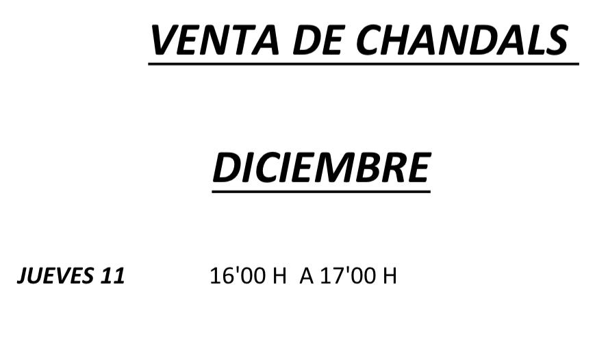 Venta de chandals – Diciembre 2014