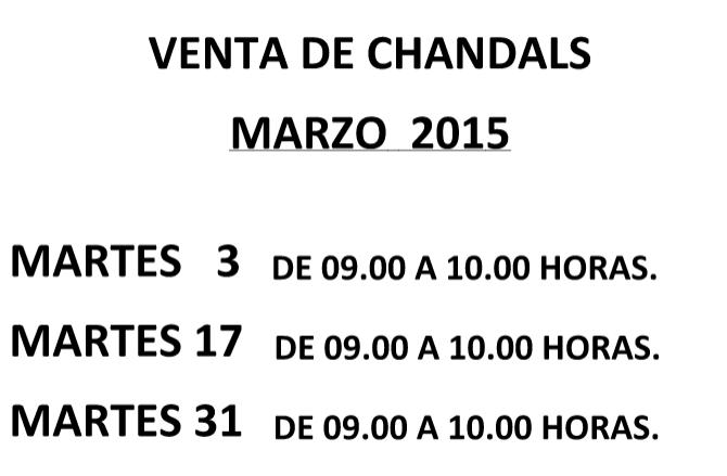Venta de chandals – Marzo 2015