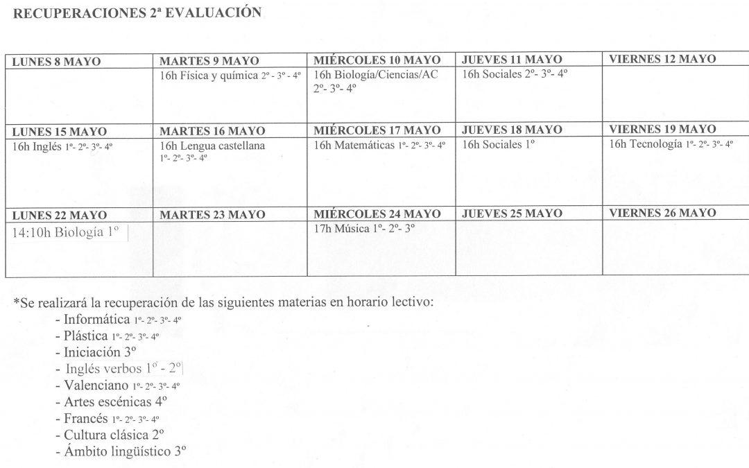 Recuperaciones ESO – 2ª Evaluación 16/17
