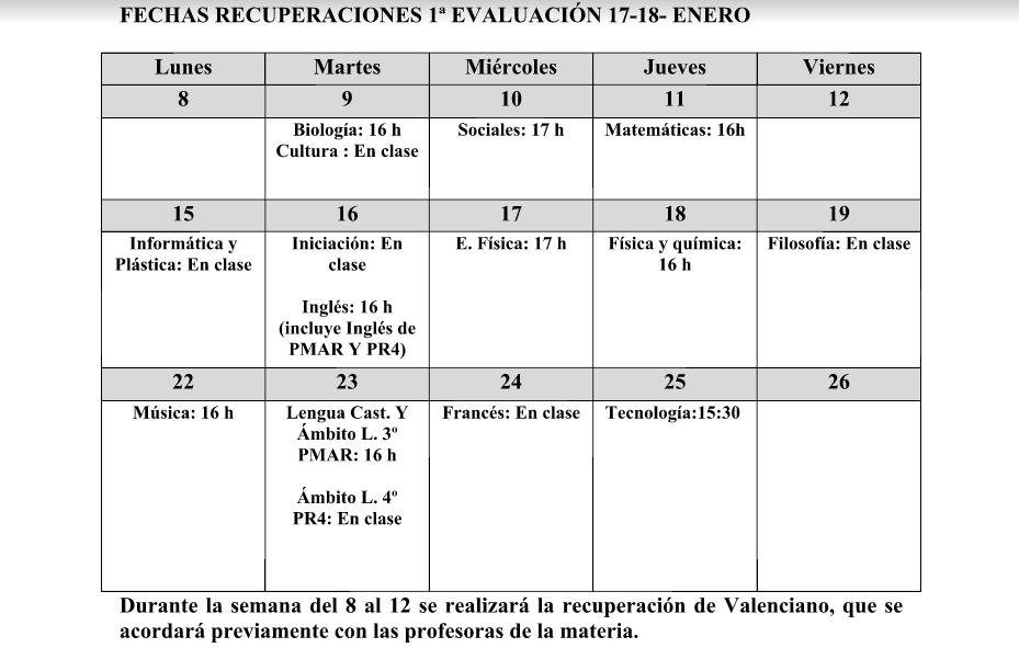 Recuperaciones ESO – 1ª Evaluación curso 17/18