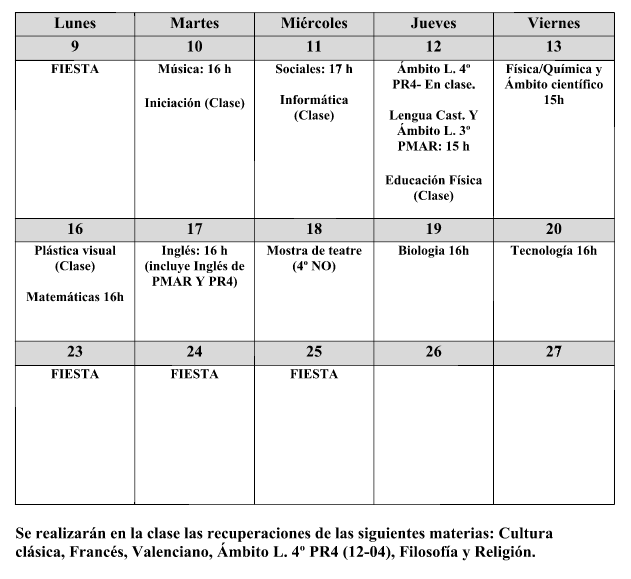 Recuperaciones ESO – 2ª Evaluación curso 17/18