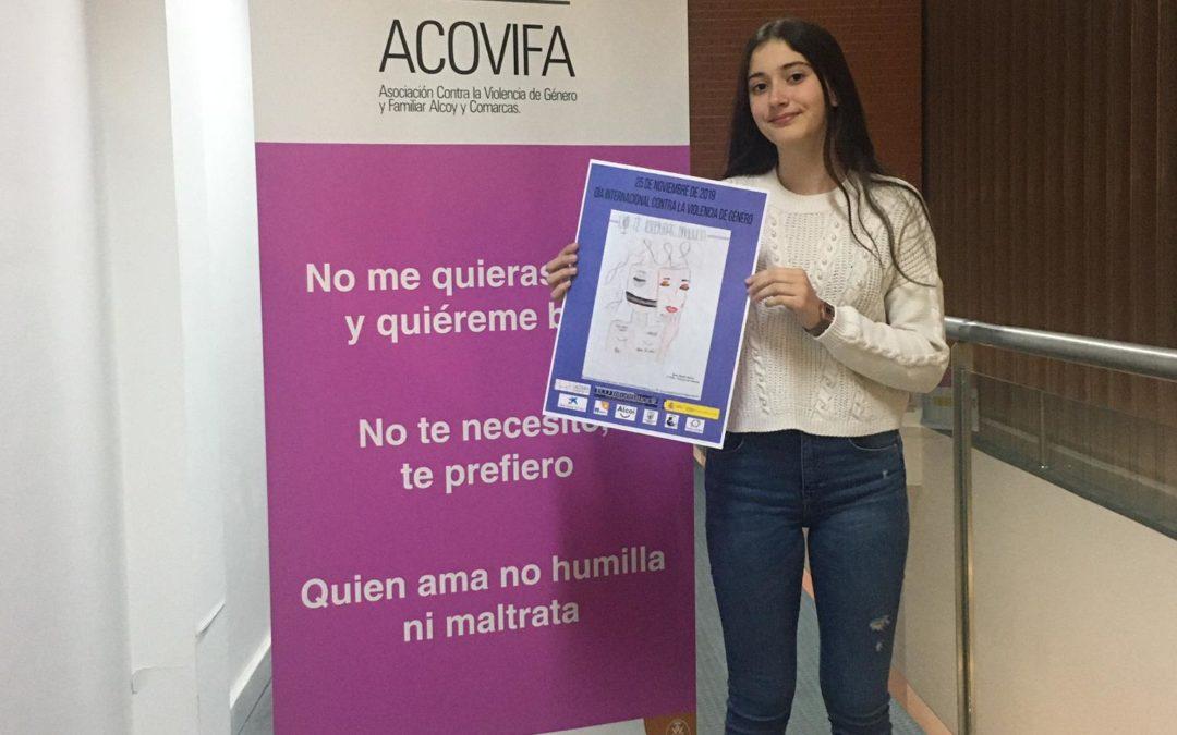 Sara Jordá, ganadora del concurso de dibujo contra de la violencia de género de Acovifa